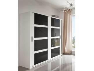 VOORRAAD Moderne Witte kledingkast met hoogglans deuren NIEUW