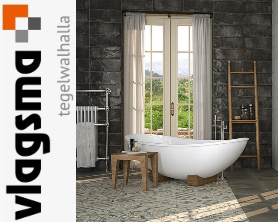 Antraciet Glanzende Wandtegel 20x50 cm Badkamer en Toilettegels : Tegels