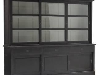 Buffetkast XL zwart geschuurd 275 x 50/40 x 220cm