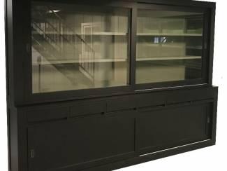 Buffetkast greeploos design zwart - grijs 300cm