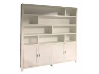 Strakke design boekenkast wit - wit 230 x 240cm