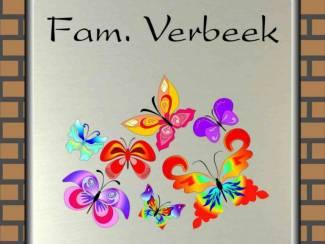 Naambordjes, naamplaten, naamborden met afbeelding vlinder
