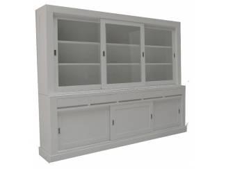 Witte design buffetkast greeploos 240 x 220cm