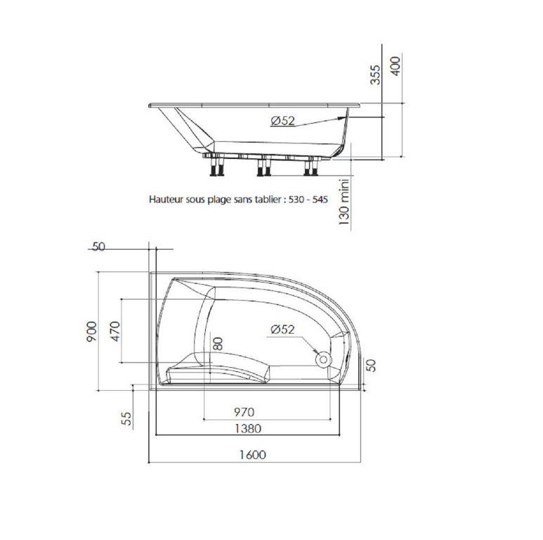 Extreem Sanifun Allibert Diva R inbouw ligbad 160 x 90 x 40 B. : Badkamer TX18