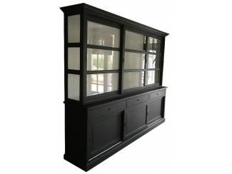 Buffetkast Lisse zwart - wit 275 x 50/40 x 220cm