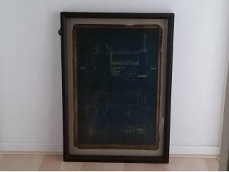 Schilderij locomotief houten frame