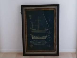 Schilderij zeilboot houten frame