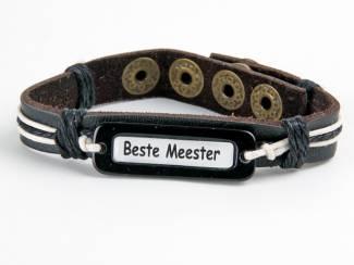 beste meester cadeau  leren armband met decoratief zwart touw