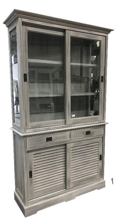 Buffetkast Louvredeuren Vintage Grijs 120 X 220cm Kasten