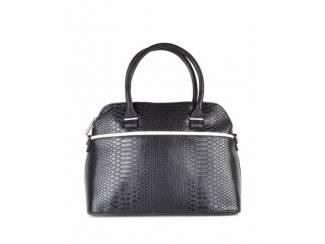 Zwarte handtas met witte streep van het merk Giuliano groot