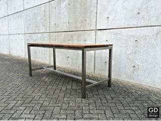 Tafels Grote industrieele rvs design bartafel met blad naar keuze!
