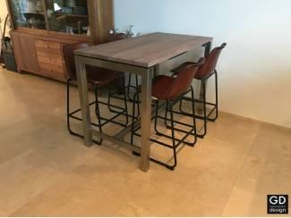 Moderne maatwerk rvs design bartafel met notenhout!