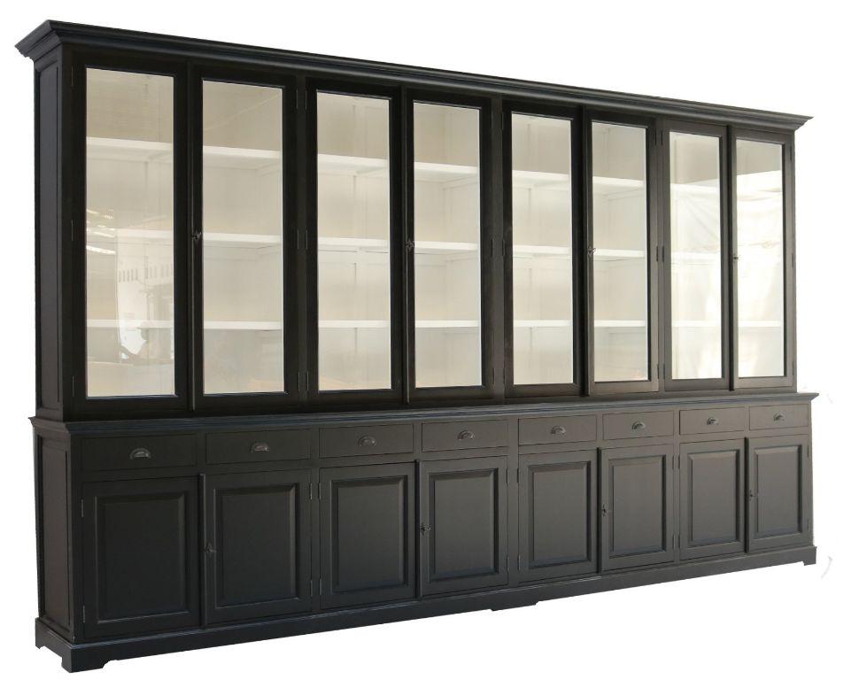 Landelijke zwarte buffetkast wit binnen 400 x 240cm