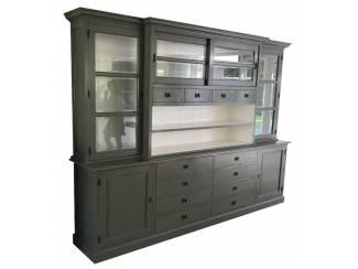 Buffetkast XL grijs - wit 300 x 55/45 x 225cm