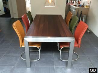 Een tafel met rvs tafelpoten & tafelblad eiken noten acacia wenge