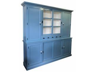 Buffetkast oud blauw dichte zijdeuren 240 x 230cm