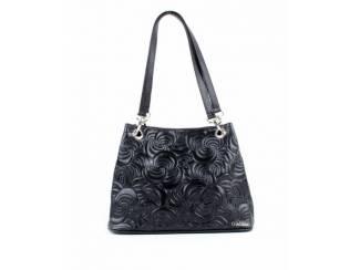 Zwart leren handtas met bloemenrelief van giuliano nu 24.99