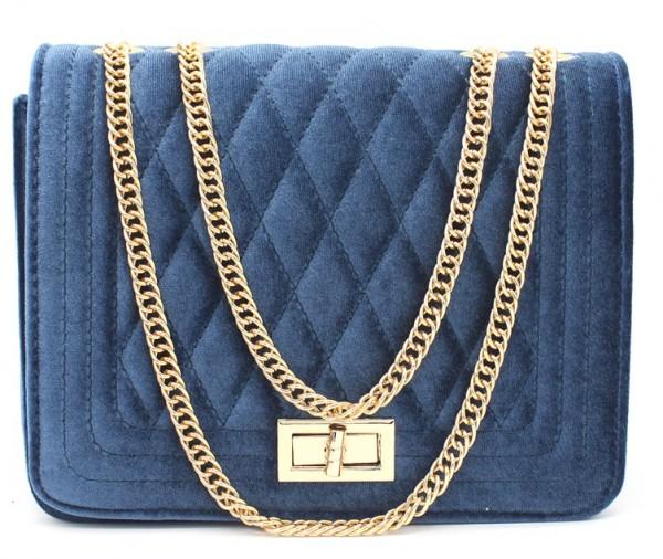 Blauwe velvet clutch van het merk brakelenzo nu 20,-