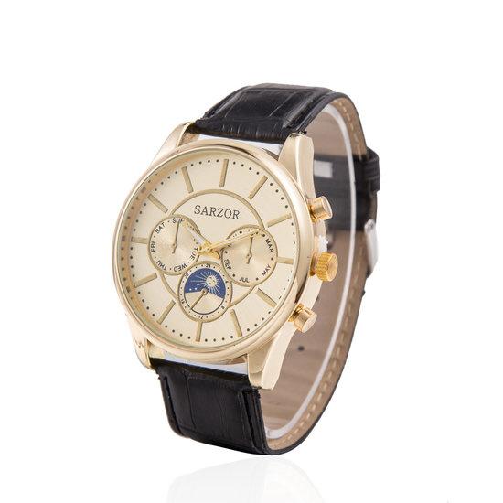 Zwarte/goude horloge van het merk Sarzor nu voor 14.99