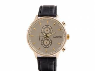 Horloges Zwarte/goude horloge van het merk Sarzor nu voor 14.99