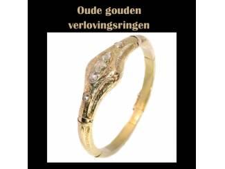 Sublieme oude gouden verlovingsring uit het vintage tijdperk.
