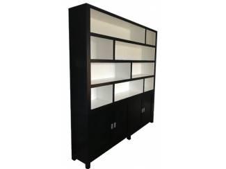 Grote strakke design boekenkast zwart - wit 230cm