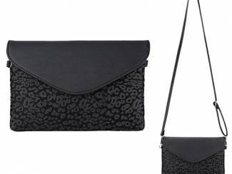 Zwarte clutch met luipaard print van het merk brakelenzo nu 24.99