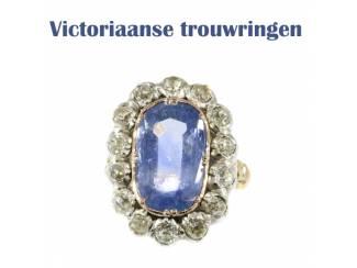 Victoriaanse trouwring omgringd met prachtige diamant