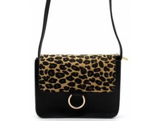 zwarte clutch met luipaardprint van het merk brakelenzo nu 20,-