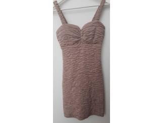 Bruine ribbel jurk 36 (n1388)