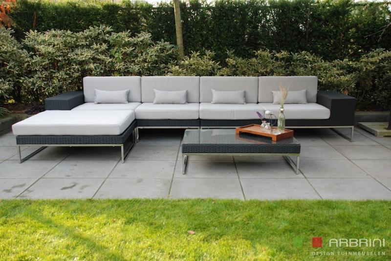 Design Bank Aanbieding.Loungeset Design Loungebank Terras Tuin Zwart Wicker Nieuw