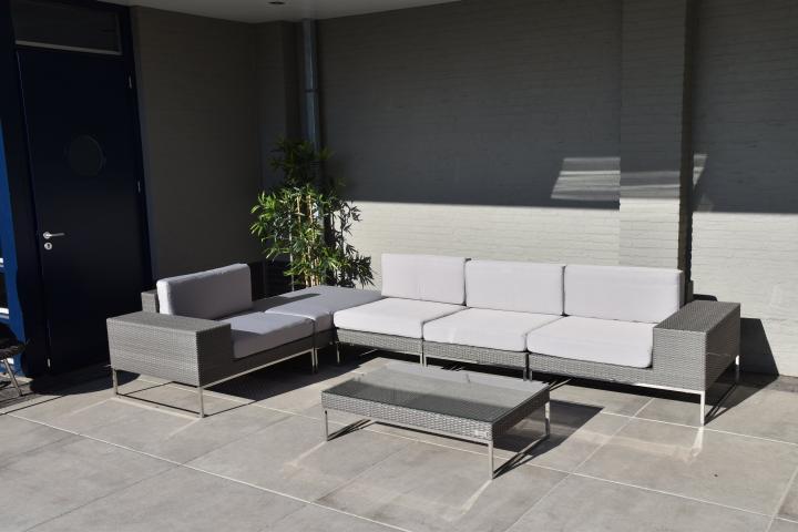 Loungeset design lounge bank terras tuin plat grijs wicker nieuw