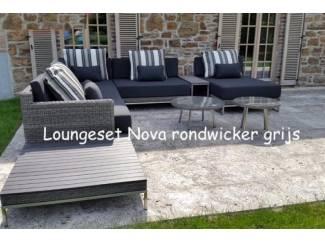 Loungeset design lounche set terras tuin rond wicker grijs.