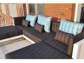 Loungeset design lounche set terras tuin wit wicker nieuw.