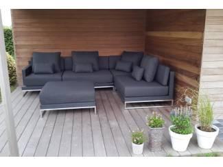 Loungeset design lounche set terras tuin zwart wicker nieuw.