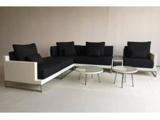 Loungeset design loungebank terras tuin wit wicker nieuw.