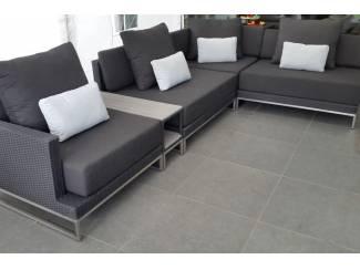 Loungeset design loungebank terras tuin zwart wicker nieuw.