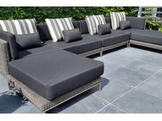 Loungeset design loungebank terras tuin rond wicker grijs nieuw.