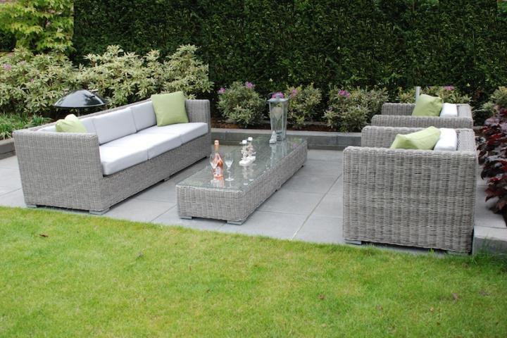 Aanbieding Loungebank Tuin : Loungeset loungebank terras tuin rond wicker grijs aanbieding