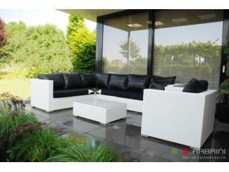 Loungeset loungebank terras tuin wit wicker AANBIEDING.