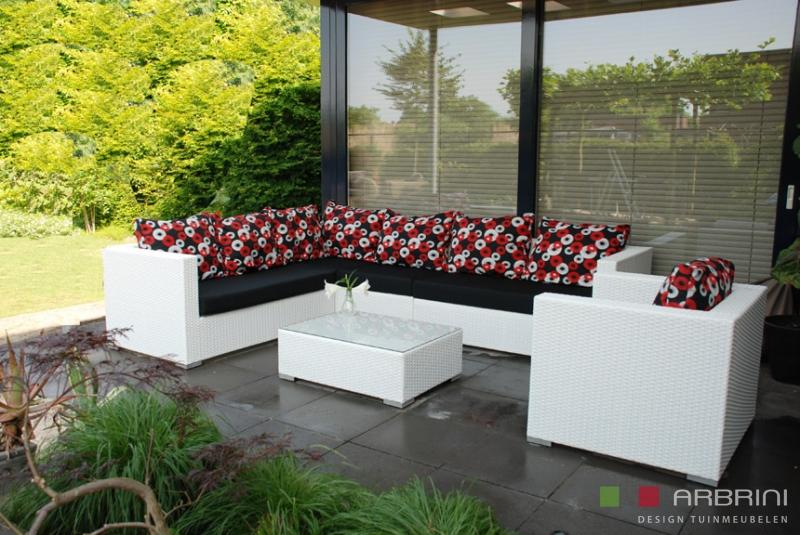 Aanbieding Loungebank Tuin : Loungeset loungebank terras tuin wit wicker aanbieding tuinmeubelen