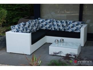 Loungeset lounge bank terras tuin wit wicker AANBIEDING.
