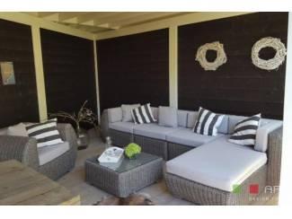 Loungeset design lounche set terras tuin rond wicker grijs..