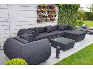 Loungeset lounche set terras tuin zwart wicker nieuw..