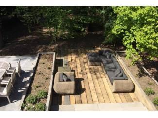 Loungeset lounche set terras tuin rond wicker naturel nieuw.