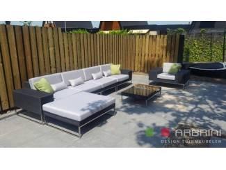 Loungeset design loungebank met stoel zwart wicker nieuw.
