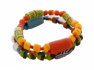 Ghanese kralen armband met kleurrijke glaskralen