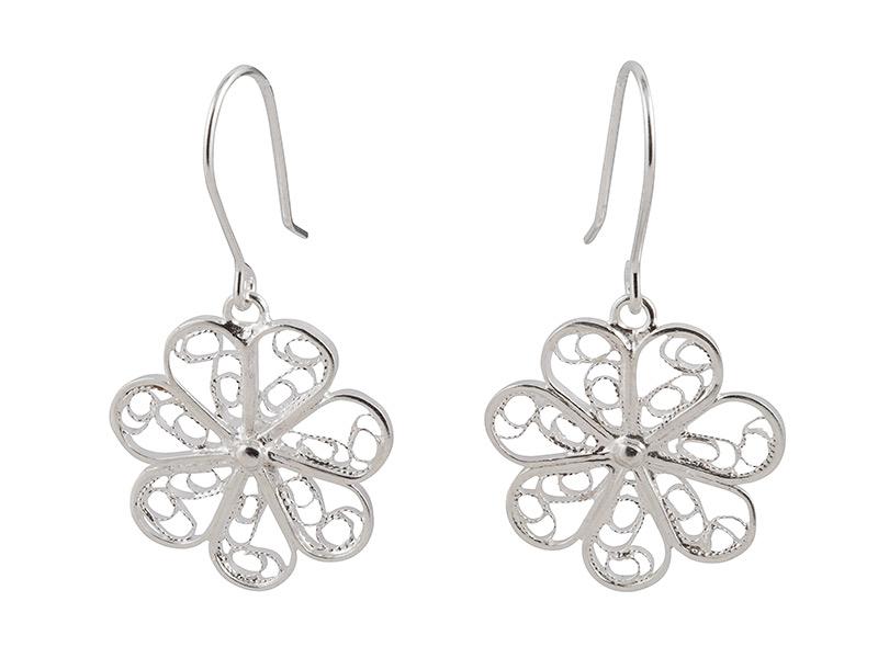 Peruaanse zilveren filigrain oorbellen in de vorm van een bloem