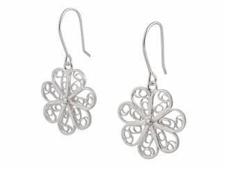 Sieraden Peruaanse zilveren filigrain oorbellen in de vorm van een bloem