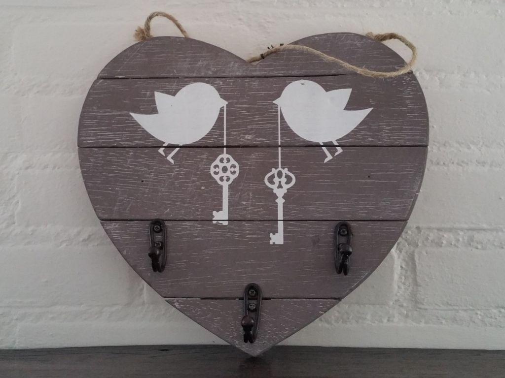 Houten Sleutelbord 3 Haken Met Vogeltjes Accessoires En Decoratie